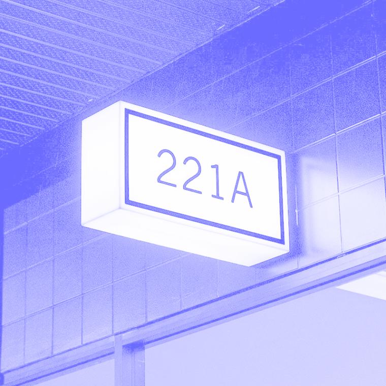 221a sign blue